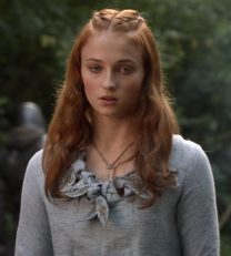 Sansa S1E2 Blue Dress Closeup